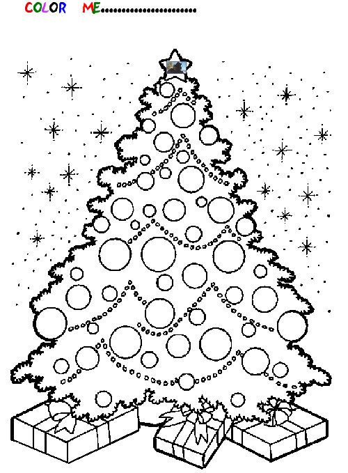 christmas tree present coloring pages - photo#17